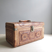 tooled leather vintage train case
