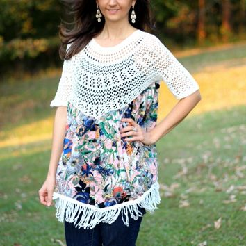 Selfie Couture by Trendology White and Floral Top with Fringe and Crochet