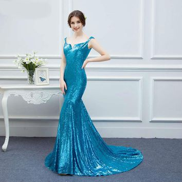Bling Bling Mermaid Evening Dresses Sequines Spaghetti Straps Green V back Navy Blue Evening Prom Gown Real Sample