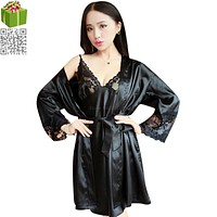 Hot Sale Two Pieces Sets Elegant Womens Silk Satin Nightgowns&Sleepshirts Solid Sleepwear Mujer Robe  Lady Sexy Nightdress