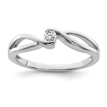 Sterling Silver Diamond Solitaire Twist Band Promise Ring