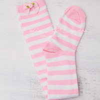 DDLG Sexy Pink DADDY'S GIRL Lolita Stripe Bow & Rose Tall Over Knee High Socks Lingerie Baby Kitten Little Babygirl Cosplay Kawaii bdsm abdl