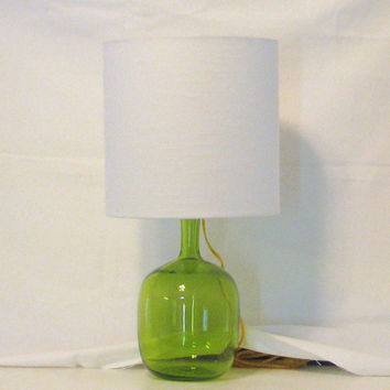 "Lamp and Lampshade / Green glass lamp made out a vintage vase and 10""x10"" lampshade in off white color"