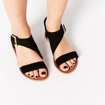 Carvela Kirby Black Suede Flat Sandals