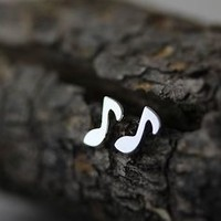 Sterling Silver Earrings Tiny Music Note Earrings Antique Classic Simple Studs