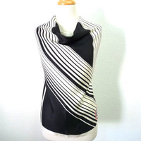 Vintage Silk Scarf Norell Black & White Hand-Rolled Spring Fashion