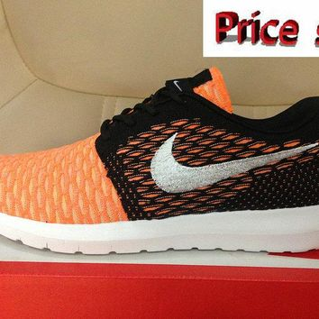 2018 Factory Authentic Nike Flyknit Roshe Run Flyknit Bright Citrus Hot Laba Black Silver shoes