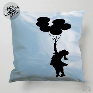 Banksy Balloon Girl Pillow Case, Chusion Cover ( 1 or 2 Side Print With Size 16, 18, 20, 26, 30, 36 inch )