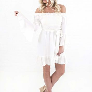 Women's Off the Shoulder Dress with Smocked Bodice and Ruffle Sleeves