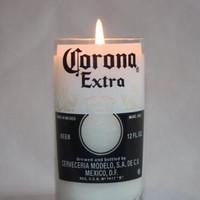 Beer Bottle Candle Upcycled from Corona or Corona Light Beer Bottle, High Scented, Custom Made