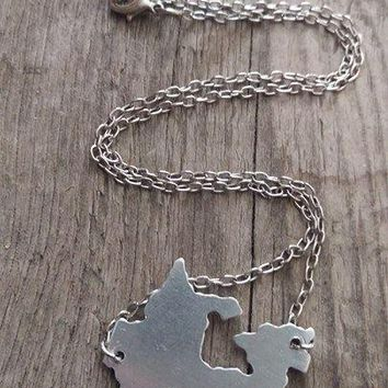 Oh Canada - Metal Cut Out Country Necklace - Stamped with Heart - SOLD OUT