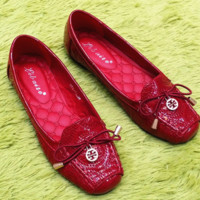 Tury Burch New fashion women's shoes with square bowknot and flat bottom single shoe with flat bottom Red