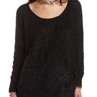 Chunky Knit Sweater with Pocket by Charlotte Russe - Charcoal