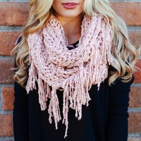 Plush Fringe Infinity Scarf in Pink