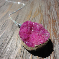 Druzy in Pinks/Silver Pendant Necklace/Choose Your Pendant/Magenta/Pink/Grape