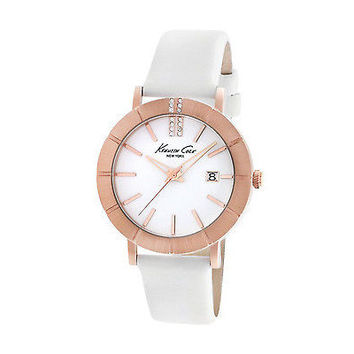 Kenneth Cole New York KC2743 Rose Gold Bezel White Leather Band Women's Watch