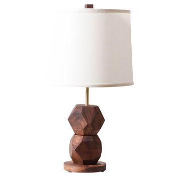 2 Stacked Gem Table Lamp, Walnut, Table Lamps