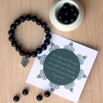 Black Wooden Beads with a Hamsa Charm, Stacking Bracelet, Yoga Bracelet, Yoga Accessory