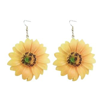 2018 New Fashion Sunflower Acrylic Boho Beach Vacation Big Flower Drop Earrings For Women Girls Charm And Lovely Jewelry