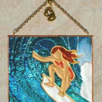 Surfer Girl Art Stained Glass Panel Surfer Art Surf Art Surfer Gift Suncatcher Surfer Decor Surf Wall Decor Surfer Girl Decor Surf Decor