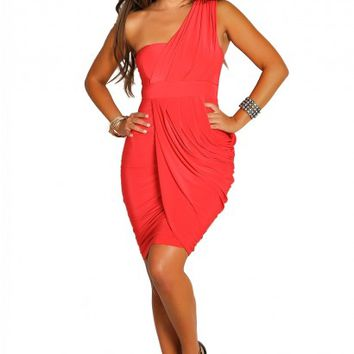 Francesca Red Draped One Shoulder Cocktail Dress
