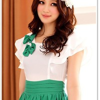 Women Cotton Round Neck Cap Ruffle Sleeve Lovely Bow Spliced Fitting Green Dress S/M/L@MF3204gr - $19.78 : DressLoves.com.