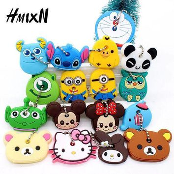 DCCKL6D Cartoon Anime Minion Cute Owl Key Cover mickey stitch Bear Keychain Silicone Hello Kitty Holder porte clef Ring cat cap chain