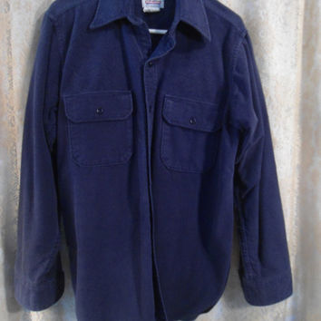 Mens Large Navy Blue Flannel Thick Dress Shirt Lumberjack Flannel Flap Pockets 2 Pockets Buttoned Vintage Fall Grunge Boyfriend Shirt
