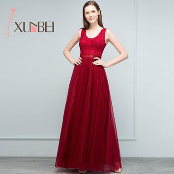 Robe demoiselle d'honneur A Line Burgundy Tulle Bridesmaid Dresses Long 2017 Sleeveless Lace Prom Dresses Party Gown