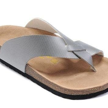 Birkenstock Birki Sandals Artificial Leather Sliver - Ready Stock
