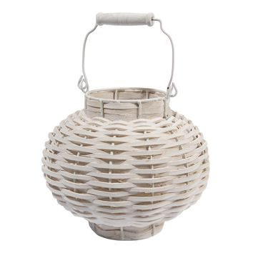 "11.5"" Beach Day Weathered White Woven Wood Votive Candle Lantern"