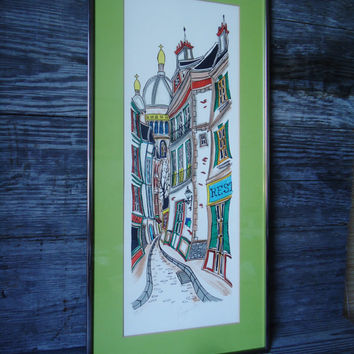 "Tom Wood AKA Jacquest  ""French Village"" Signed Numbered Lithograph"