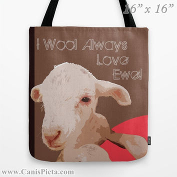 "Lamb Sheep ""I Wool Always Love Ewe!"" Graphic Print Tote Bag Back to School Gift Idea Supplies an Beige Brown Melon Farm Life Goat Sweet You"