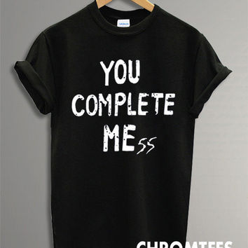 you complete mess shirt 5 second of summer luke hemmings 5sos t-shirt printed black and white unisex size (CR-31)