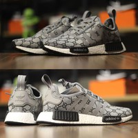 Best Online Sale Gucci x Adidas Consortium  NMD R1 Grey Boost Sport Running Shoes Classic Casual Shoes Sneakers