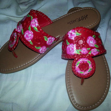 Hand painted sandals inspired by the look of Jack Rogers and painted in a Lilly Pulitzer like design