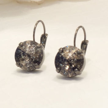 SWAROVSKI CRYSTAL EARRINGS, 12mm, black patina, designer inspired, hematite setting, bridal, bridesmaid jewelry