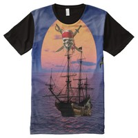 All-Over Printed Panel T-Shirt Pirate All-Over Print T-shirt