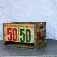 vintage 50/50 wooden crate : advertising canfield's soda pop box