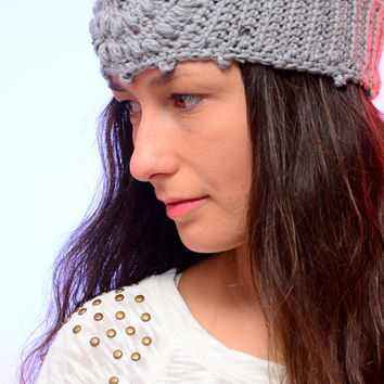 Crochet headband, gray winter headband,  crochet ear warmer, romantic headban, merino wool ear warmer, hippie warm headband, boho headband.