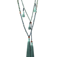 Zacasha | Turquoise Ganitry Seeds Tassel Necklace Set