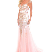 Precious Formals C70183 In Stock Peach SZ 6 Cap Sleeve Prom Pageant Dress