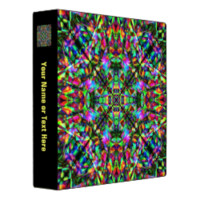 Green and Rainbow Mandala Pattern 3 Ring Binders