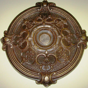 "Antiqued Ceiling or Wall Medallion, 18"" Ceiling Medallion, Ornate Medallion, ceiling medallion"