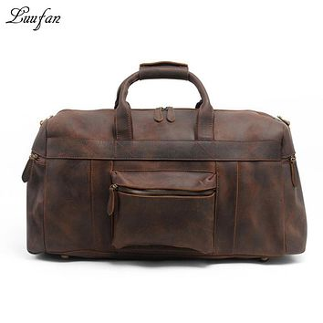 Men's Crazy horse leather travel duffel genuine leather travel bag Big vintage cow leather Weekend tote bag