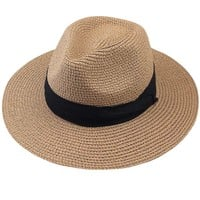 FURTALK Summer Panama Straw Fedora Hat Wide Brim Beach Sun Hat with Neck Cord