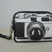 korean style double zipper Purse - Zipper Pouch (padded) Gadget Case / Little Wallet Adults / Kids Camera Bag
