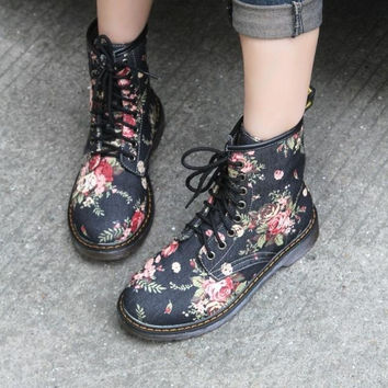 Retro Vintage Floral Printed Womens  Boots Shoes