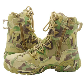 Multicam Outdoor Camping Boots Tactical Hunting Leather High Quality Boots Men Size 39-45