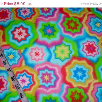 Flannel fabric with tie dye die stars design cotton quilting sewing material by the yard